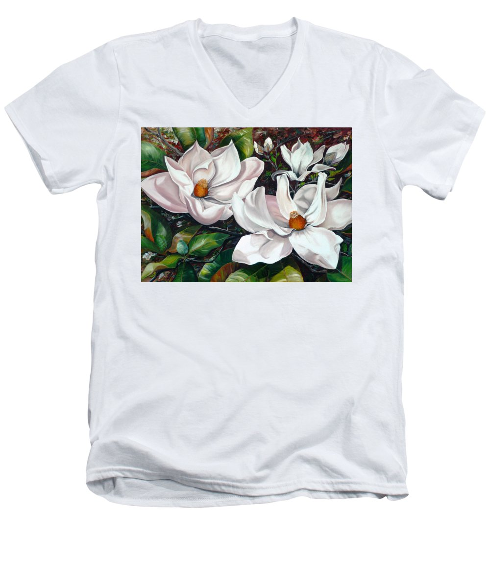 Magnolia Painting Flower Painting Botanical Painting Floral Painting Botanical Bloom Magnolia Flower White Flower Greeting Card Painting Men's V-Neck T-Shirt featuring the painting Scent Of The South. by Karin Dawn Kelshall- Best
