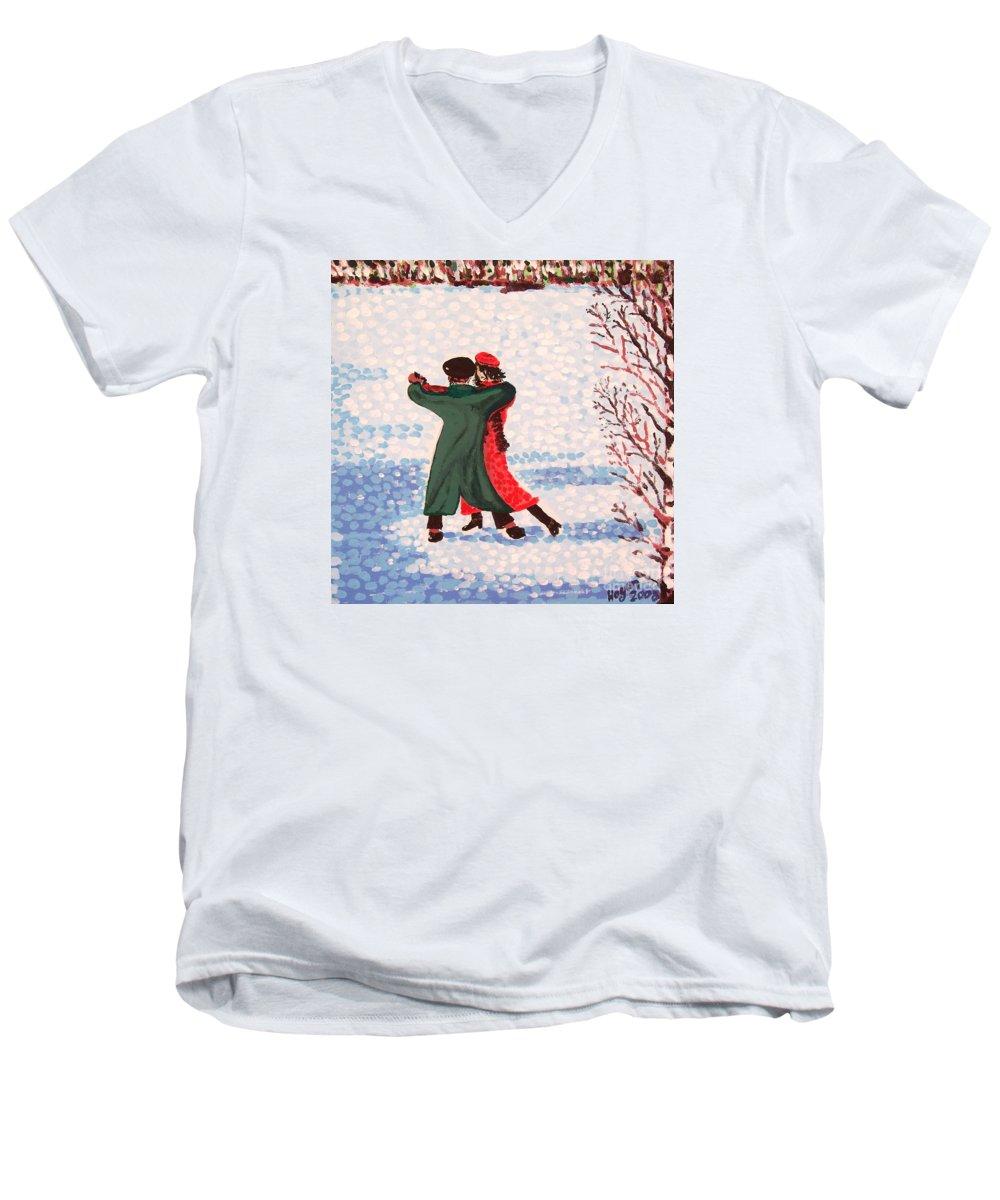 Snow Men's V-Neck T-Shirt featuring the painting Snow Tango by Alan Hogan