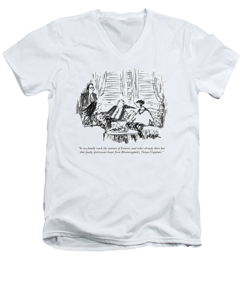 Mount Everest Men's V-Neck T-Shirt featuring the drawing So We Finally Reach The Summit Of Everest by Robert Weber