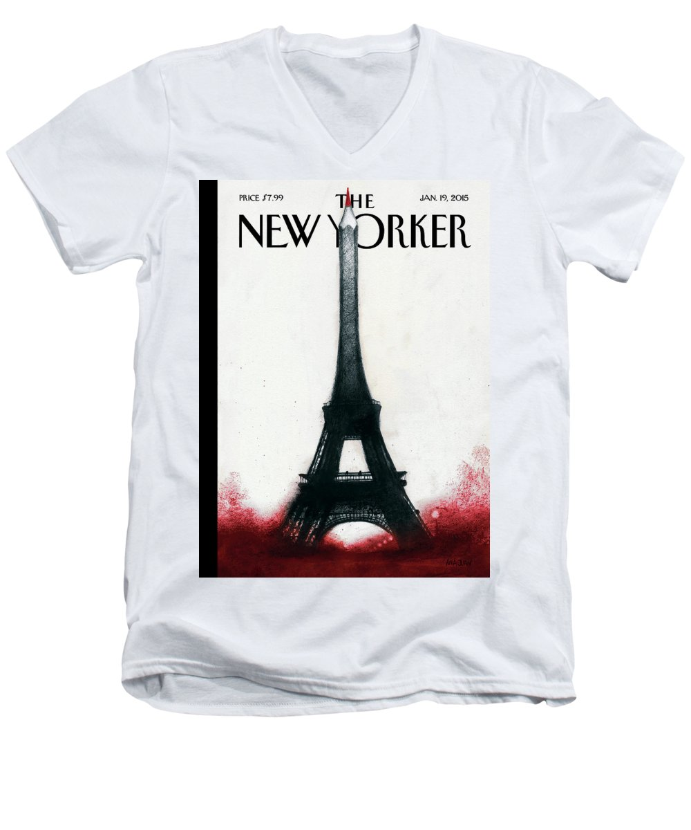 Charlie Hebdo Men's V-Neck T-Shirt featuring the painting Solidarite by Ana Juan