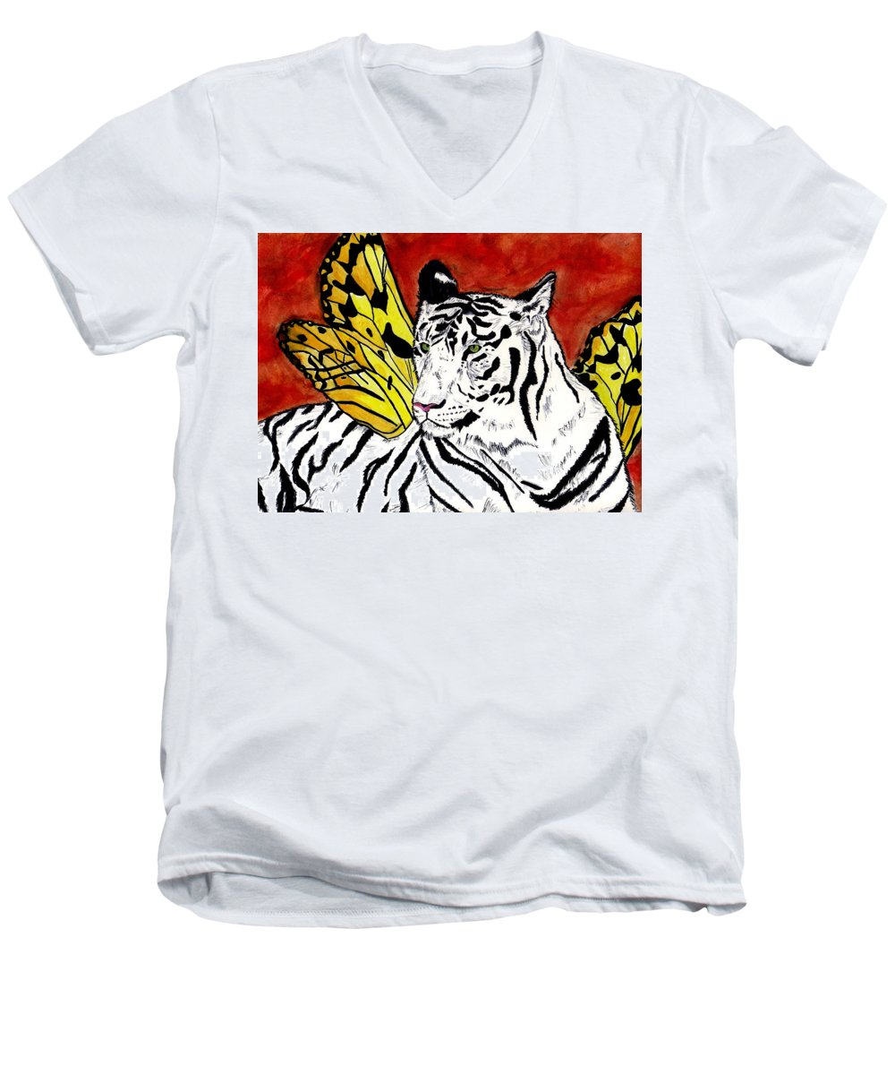 Tiger Men's V-Neck T-Shirt featuring the painting Soul Rhapsody by Crystal Hubbard