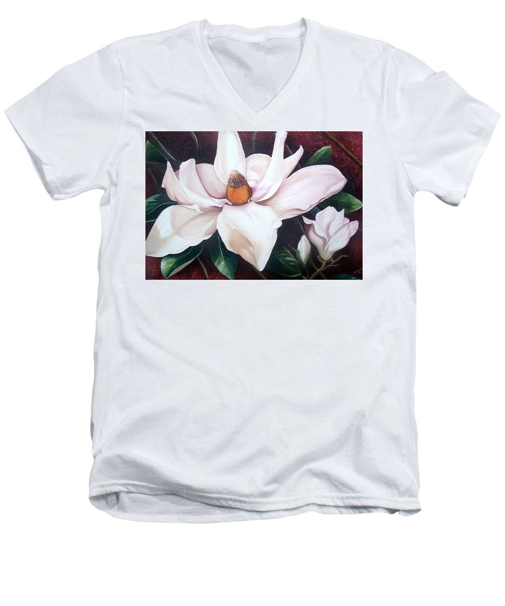 Magnolia Southern Bloom Floral Botanical White Men's V-Neck T-Shirt featuring the painting Southern Beauty by Karin Dawn Kelshall- Best