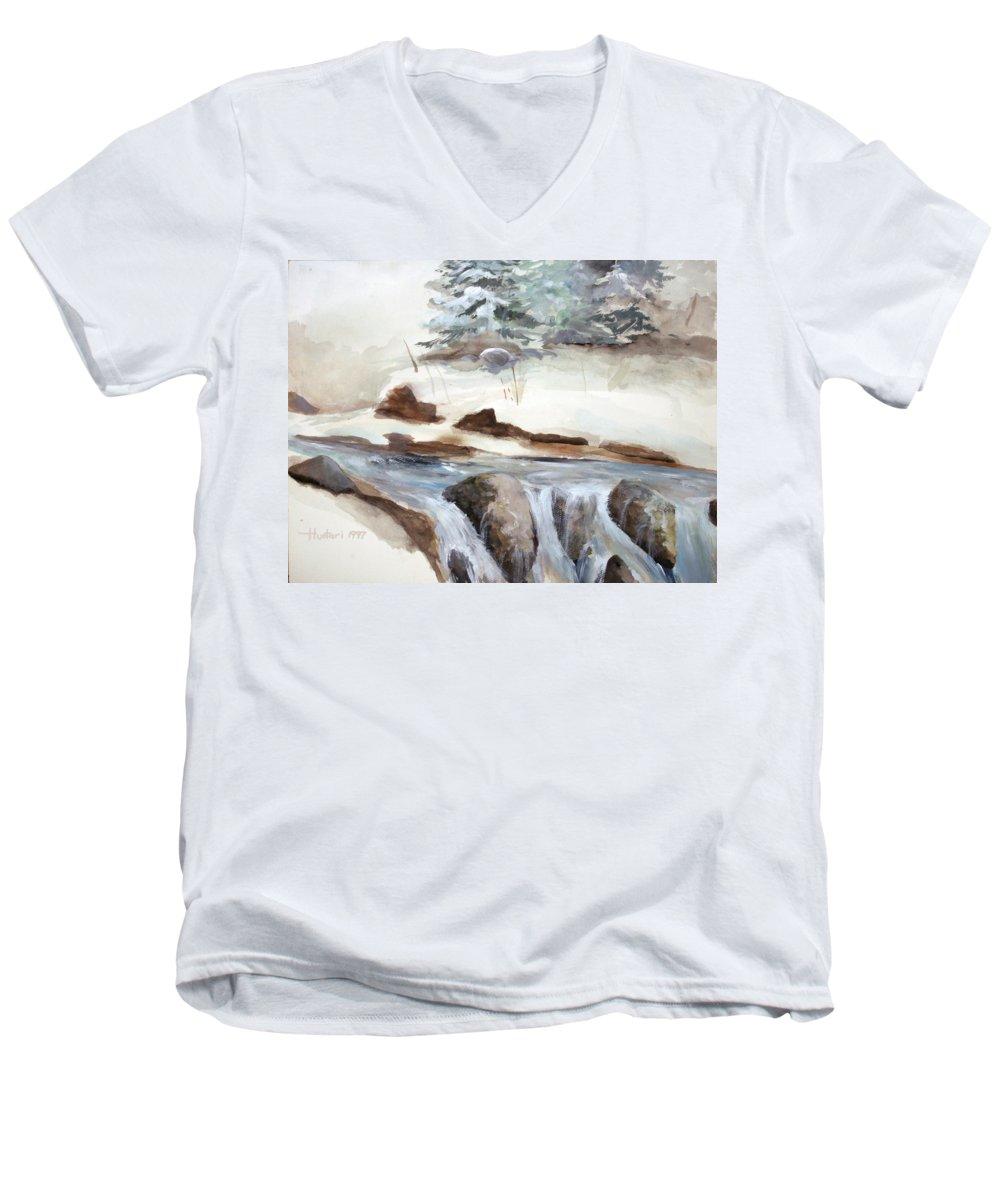 Rick Huotari Men's V-Neck T-Shirt featuring the painting Springtime by Rick Huotari