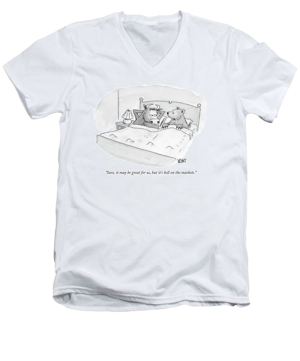 Stocks Men's V-Neck T-Shirt featuring the drawing Sure, It May Be Great For Us, But It's Hell by Christopher Weyant