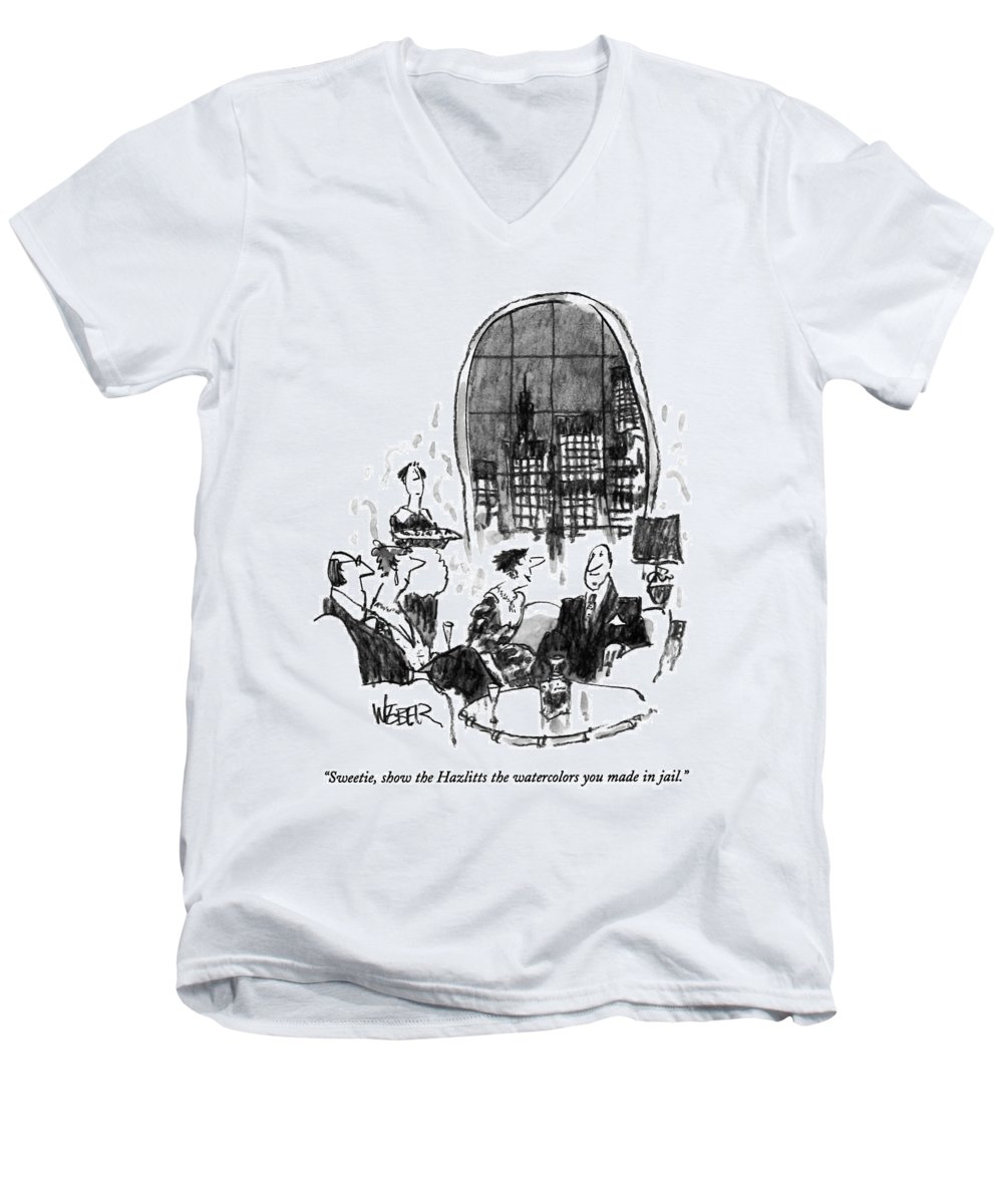 (woman At A Fancy Dinner Party Says To Her Husband) Money Men's V-Neck T-Shirt featuring the drawing Sweetie, Show The Hazlitts The Watercolors by Robert Weber