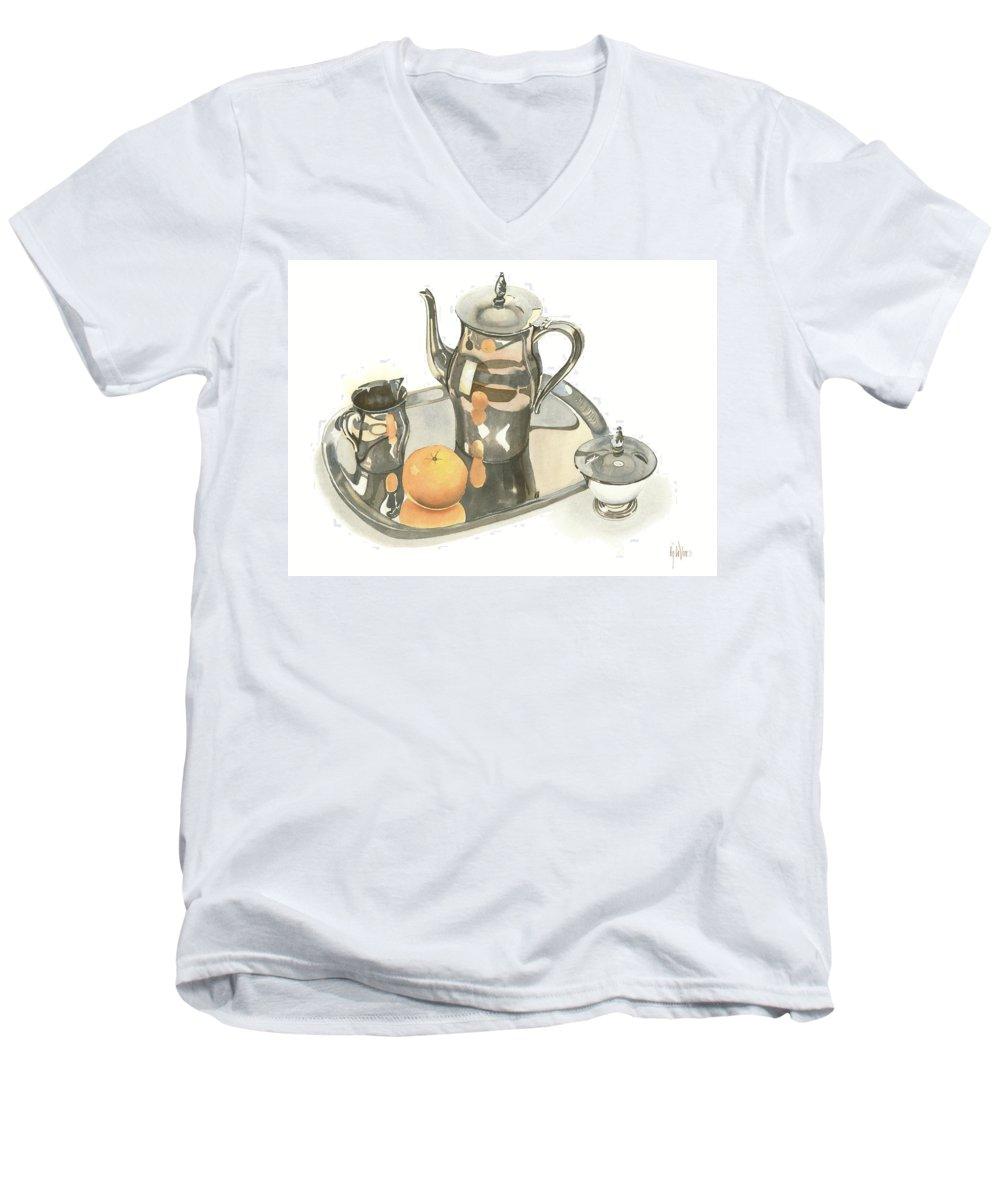 Tea Service With Orange Men's V-Neck T-Shirt featuring the painting Tea Service With Orange by Kip DeVore