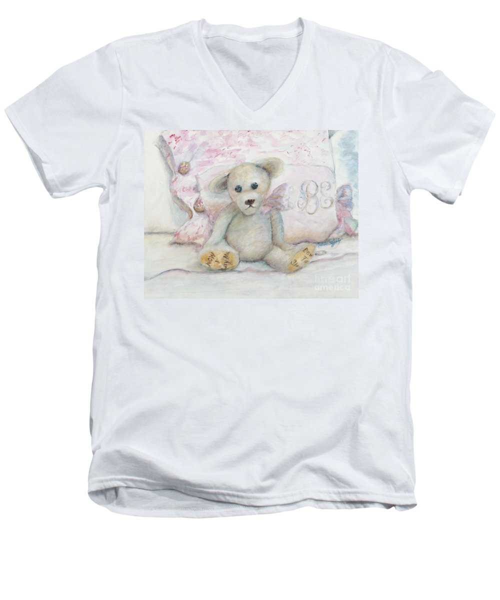 Teddy Bear Men's V-Neck T-Shirt featuring the painting Teddy Friend by Nadine Rippelmeyer