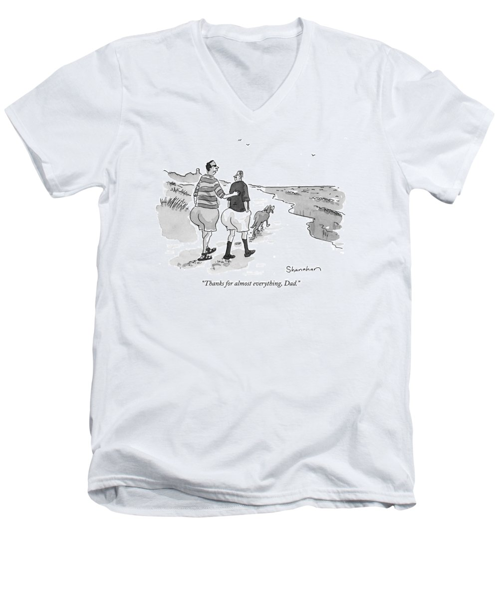 Fathers Men's V-Neck T-Shirt featuring the drawing Thanks For Almost Everything by Danny Shanahan