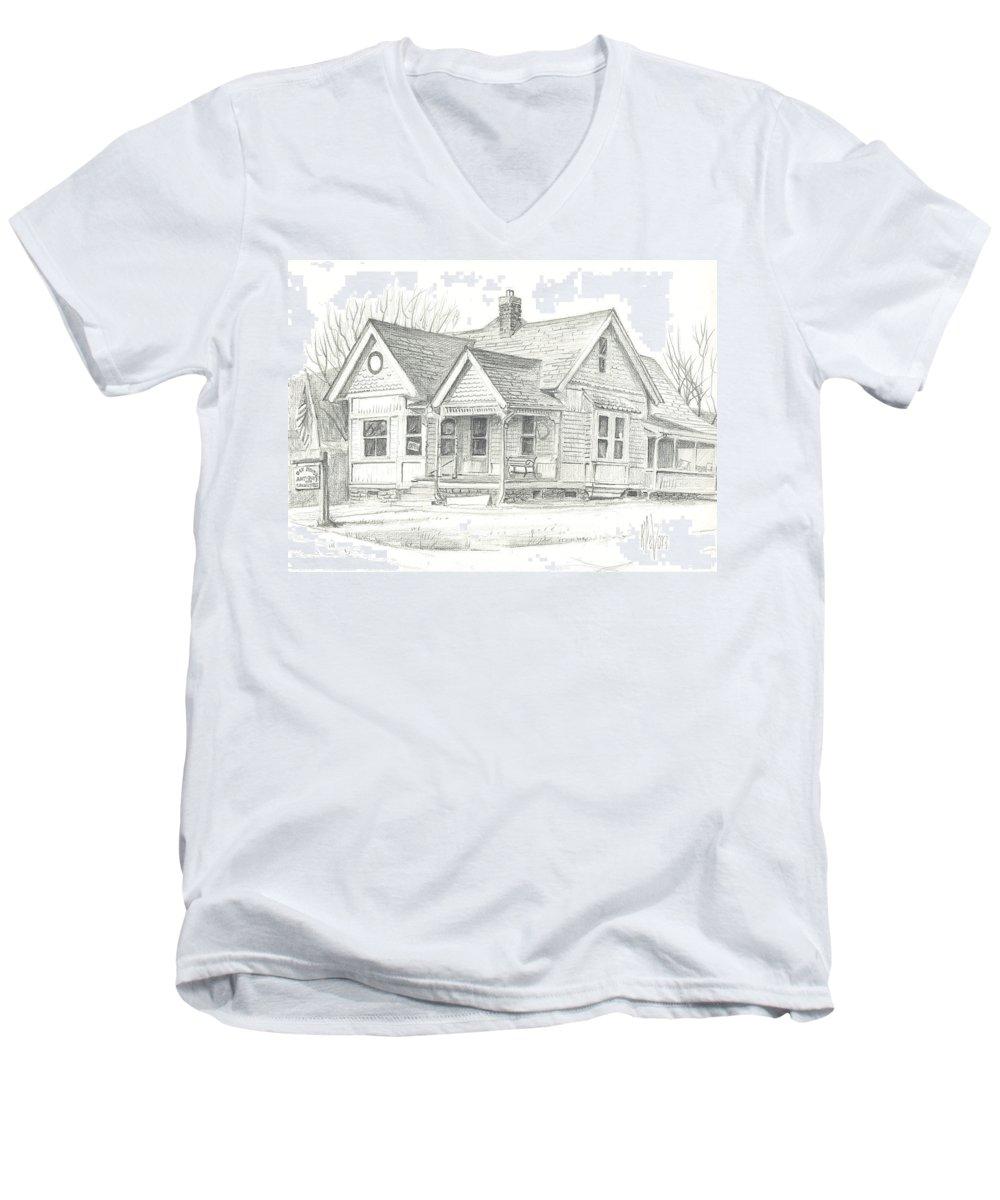 The Antique Shop Men's V-Neck T-Shirt featuring the drawing The Antique Shop by Kip DeVore