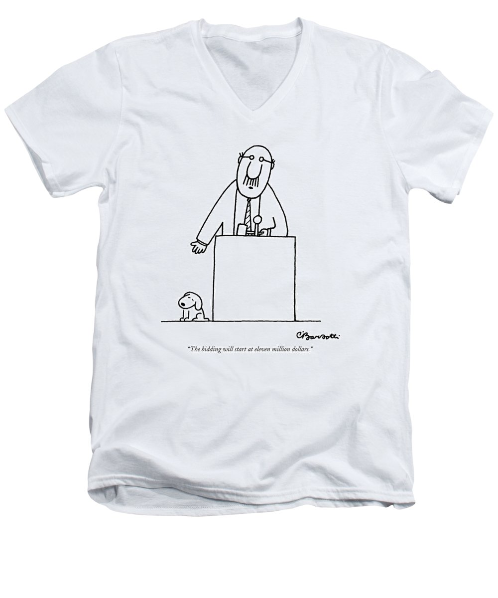 Auctioneer Men's V-Neck T-Shirt featuring the drawing The Bidding Will Start At Eleven Million Dollars by Charles Barsotti