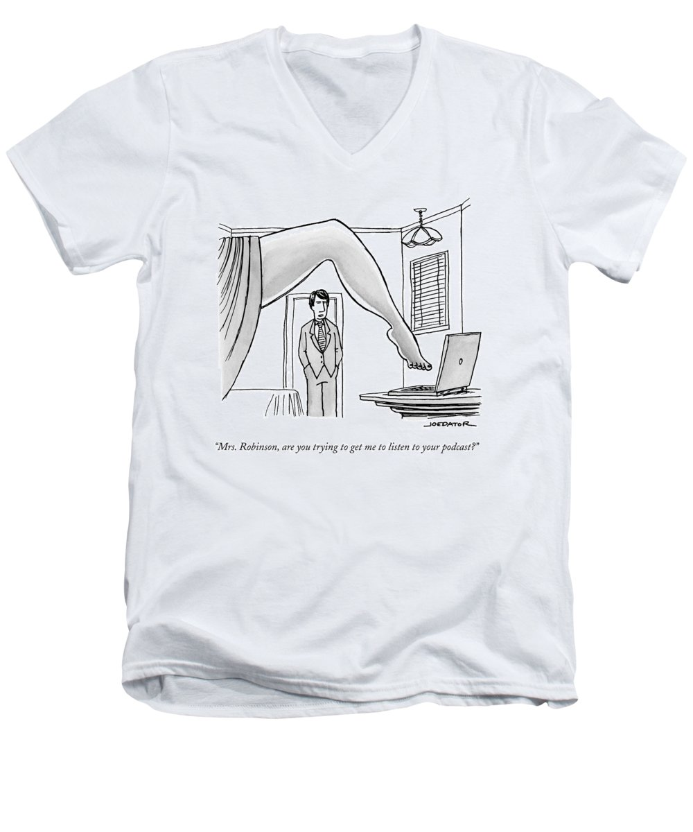 Mrs. Robinson Men's V-Neck T-Shirt featuring the drawing The Famous Shot From The Graduate Where Mrs by Joe Dator