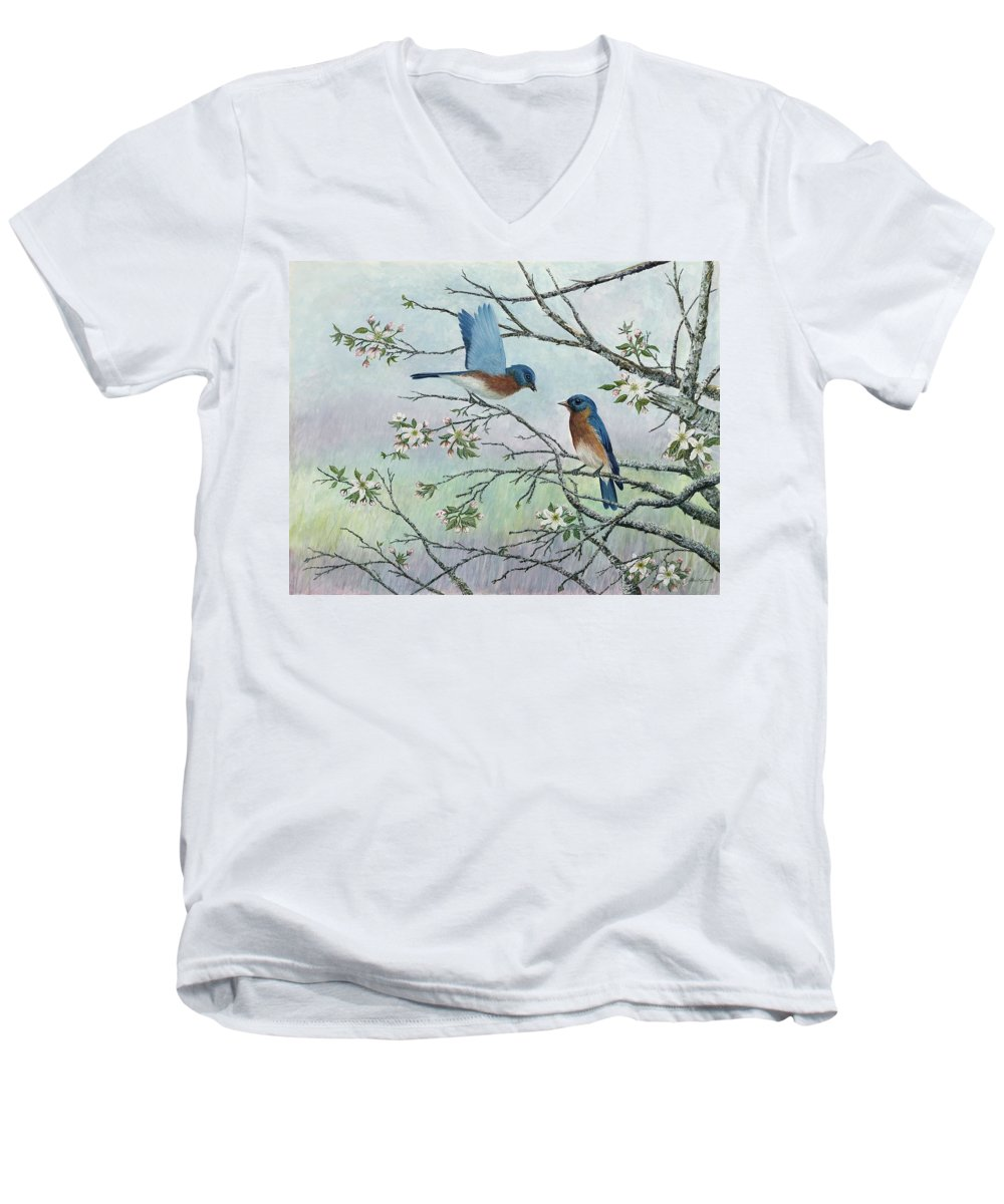 Bluebirds; Trees; Wildlife Men's V-Neck T-Shirt featuring the painting The Gift by Ben Kiger
