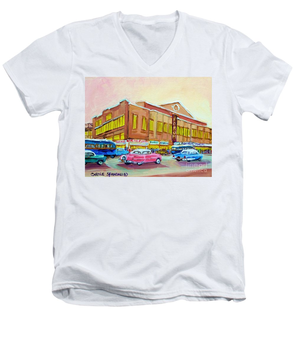 Montreal Men's V-Neck T-Shirt featuring the painting The Montreal Forum by Carole Spandau