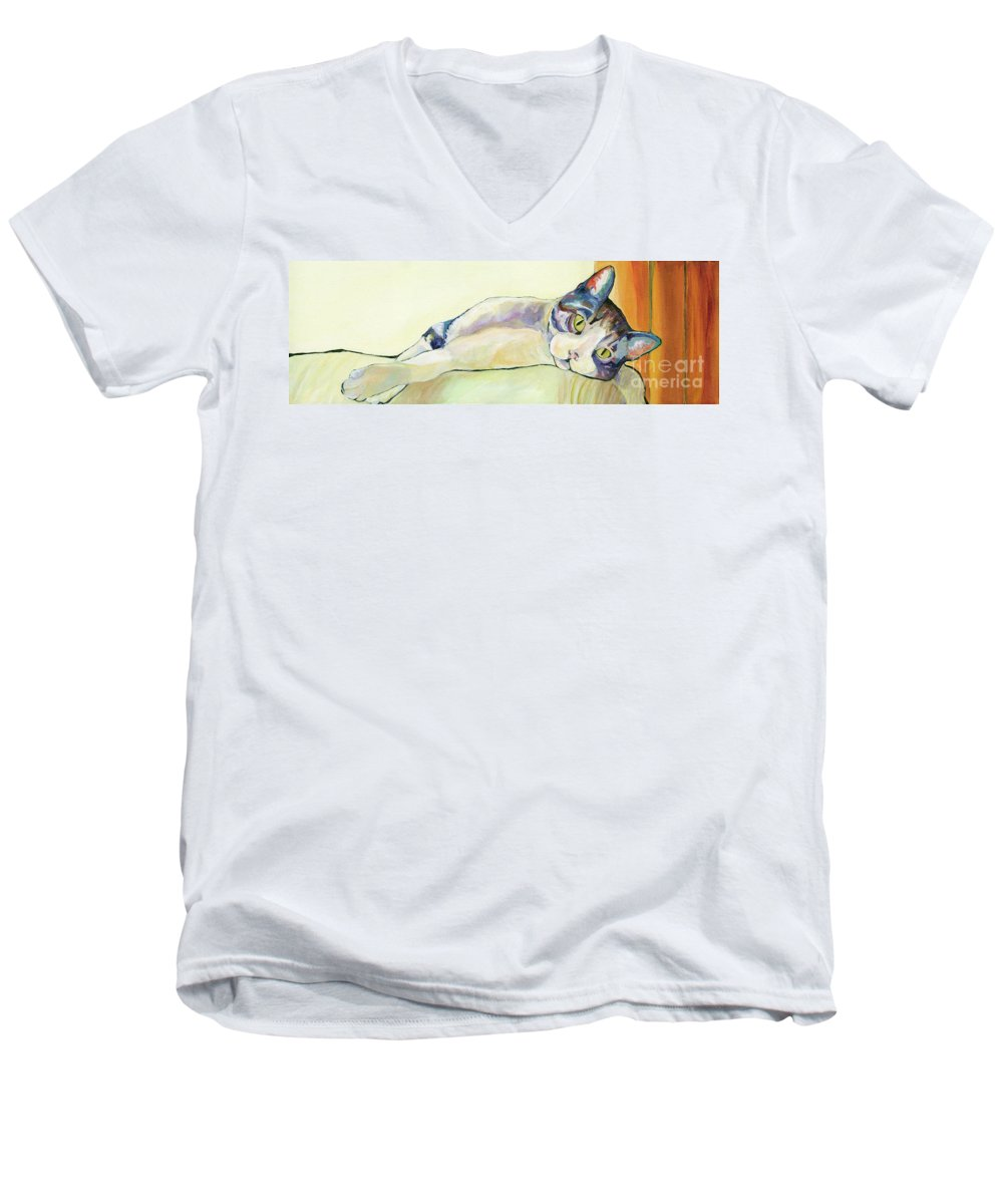 Pat Saunders-white Canvas Prints Men's V-Neck T-Shirt featuring the painting The Sunbather by Pat Saunders-White