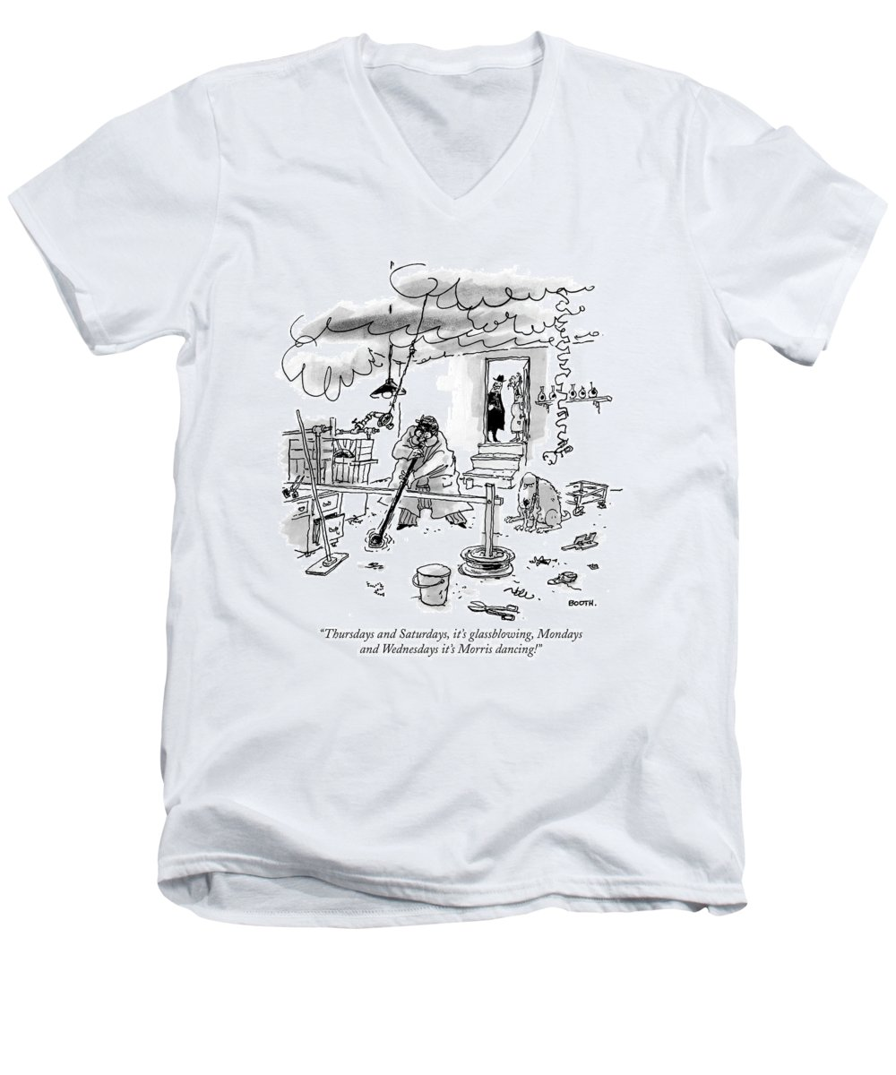 Old Age Men's V-Neck T-Shirt featuring the drawing Thursdays And Saturdays by George Booth