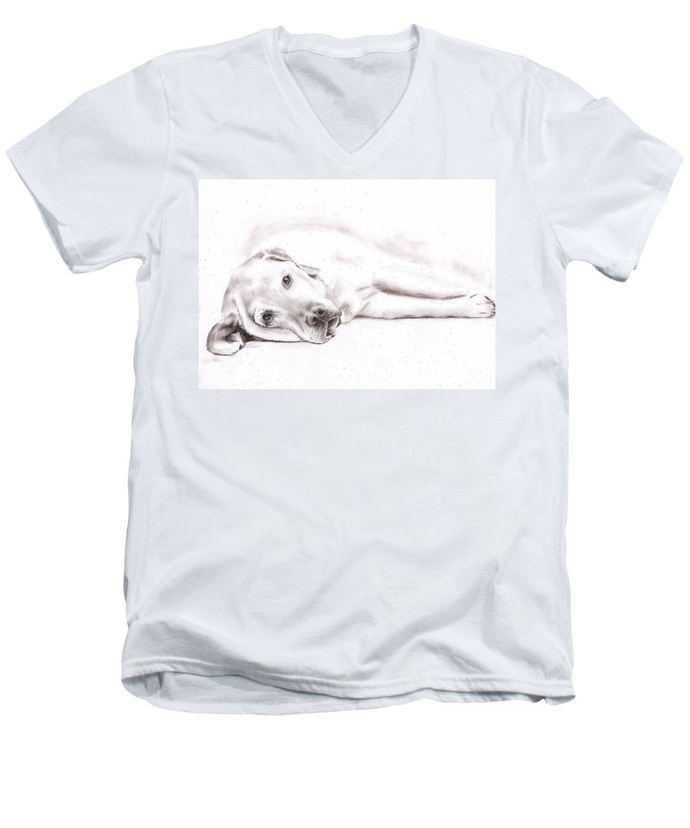 Dog Men's V-Neck T-Shirt featuring the drawing Tired Labrador by Nicole Zeug