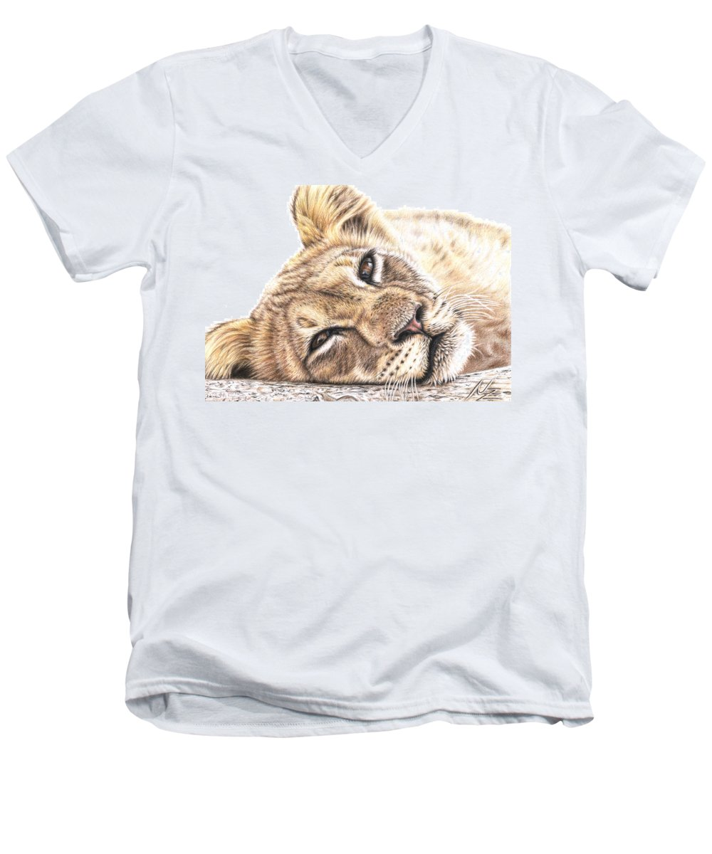 Lion Men's V-Neck T-Shirt featuring the drawing Tired Young Lion by Nicole Zeug