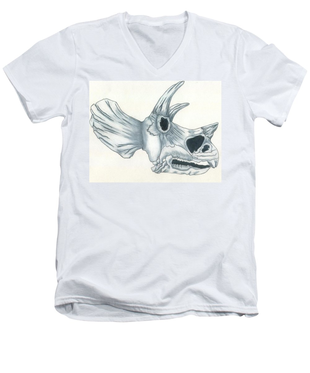 Dinosaur Men's V-Neck T-Shirt featuring the drawing Tricerotops Skull by Micah Guenther