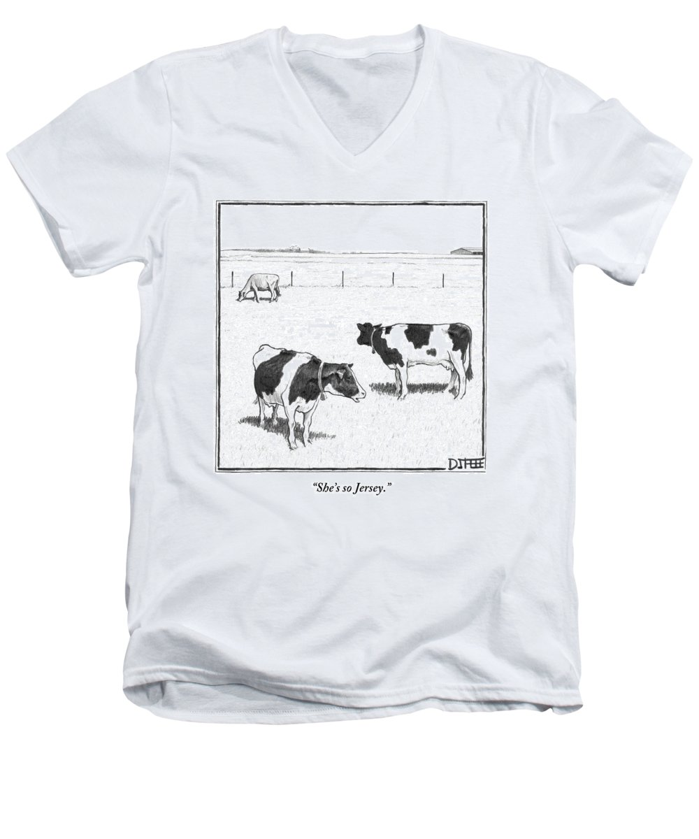 Cows Men's V-Neck T-Shirt featuring the drawing Two Spotted Cows Looking At A Jersey Cow by Matthew Diffee