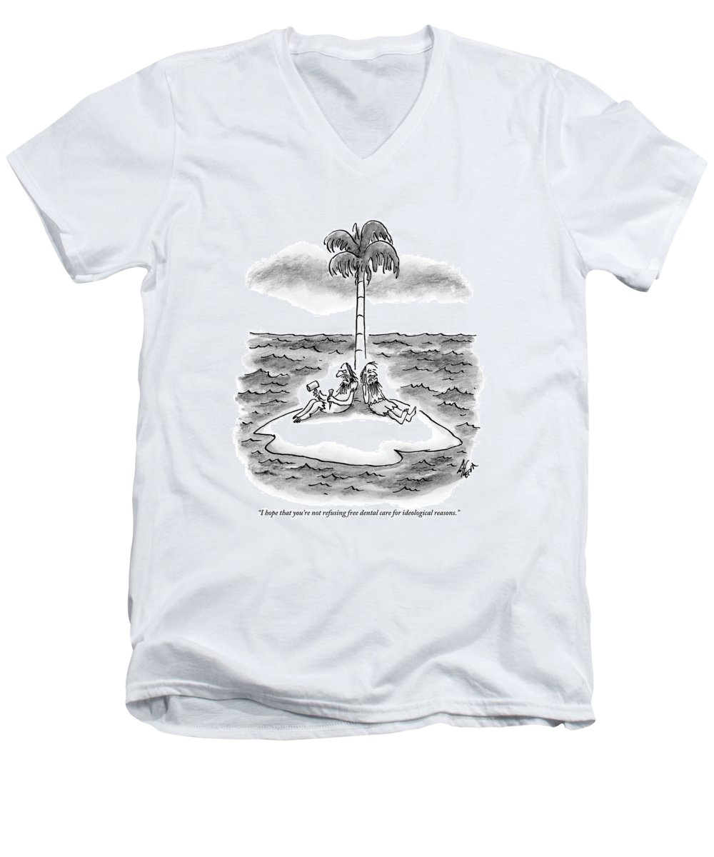 Desert Island Men's V-Neck T-Shirt featuring the drawing Two Men Sit On A Desert Island. One Holds by Frank Cotham