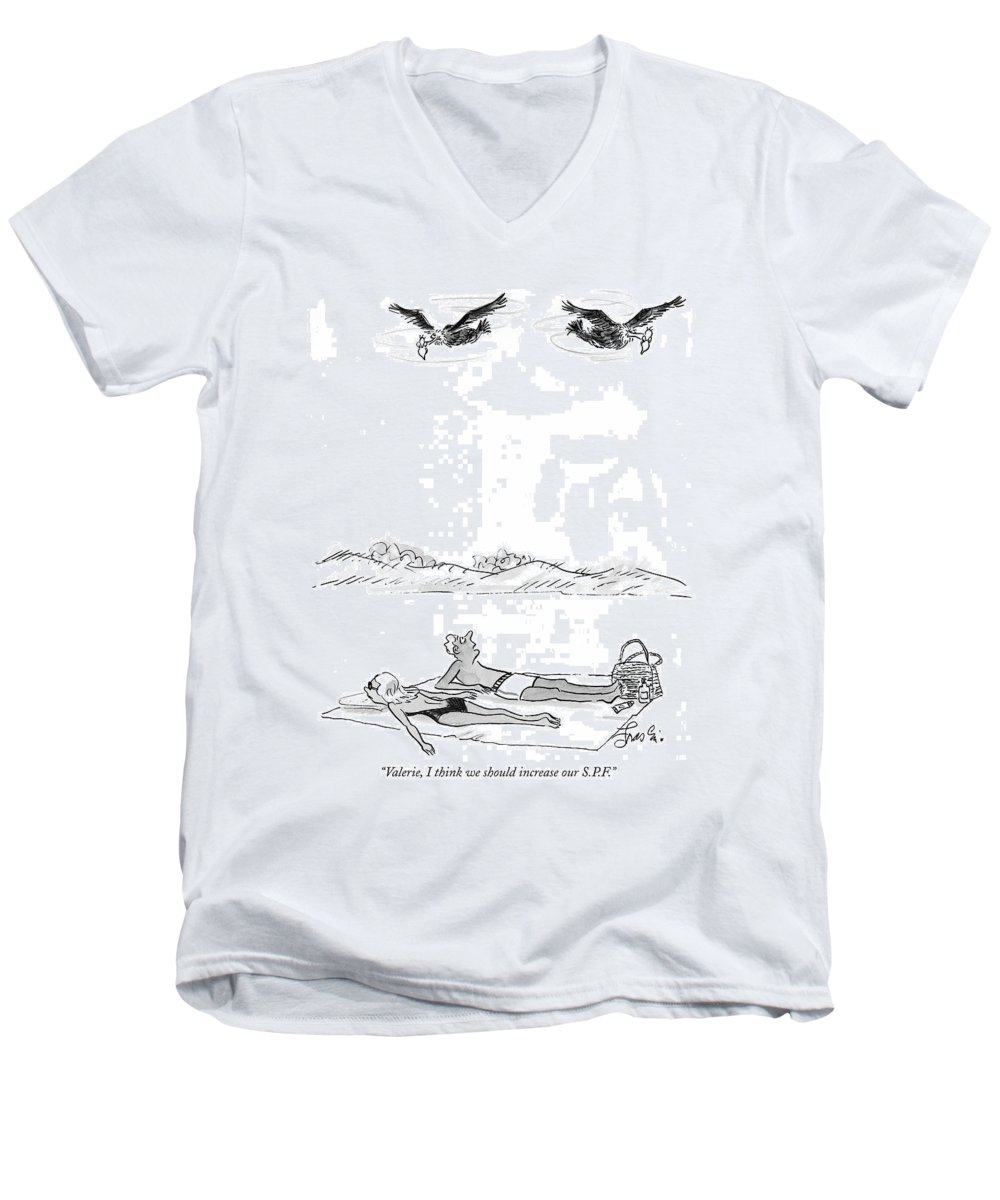 Swimming Men's V-Neck T-Shirt featuring the drawing Valerie, I Think We Should Increase Our S.p.f by Edward Frascino