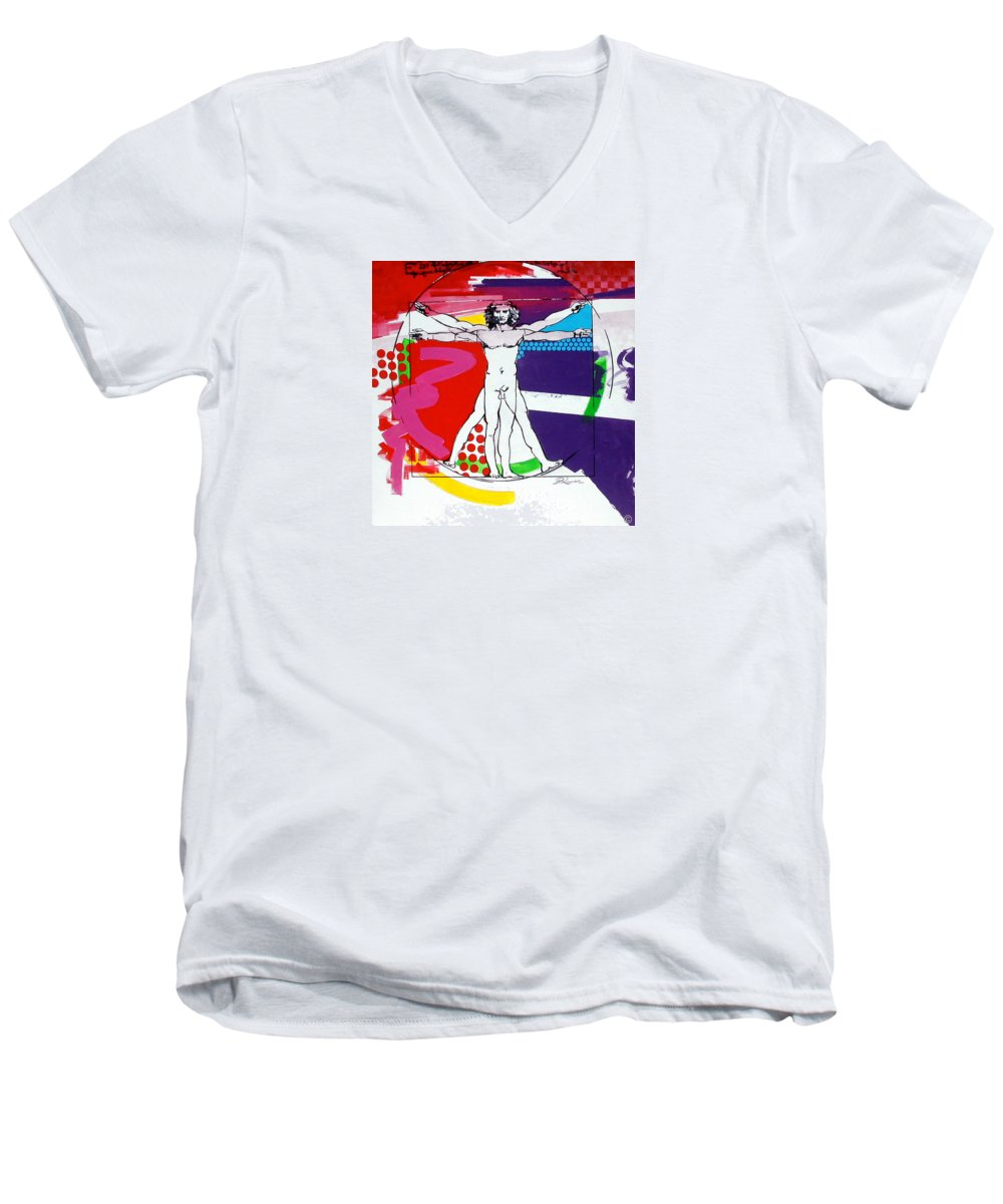 Classic Men's V-Neck T-Shirt featuring the painting Vetruvian by Jean Pierre Rousselet