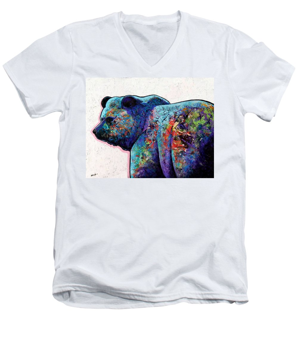 Wildlife Men's V-Neck T-Shirt featuring the painting Watchful Eyes - Grizzly Bear by Joe Triano