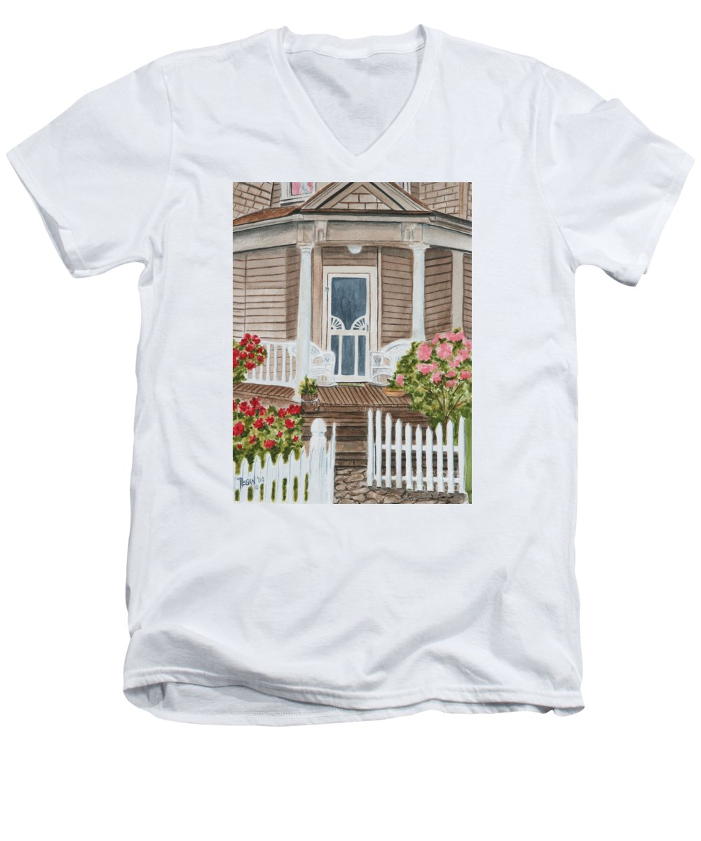 Architecture Men's V-Neck T-Shirt featuring the painting Welcome by Regan J Smith