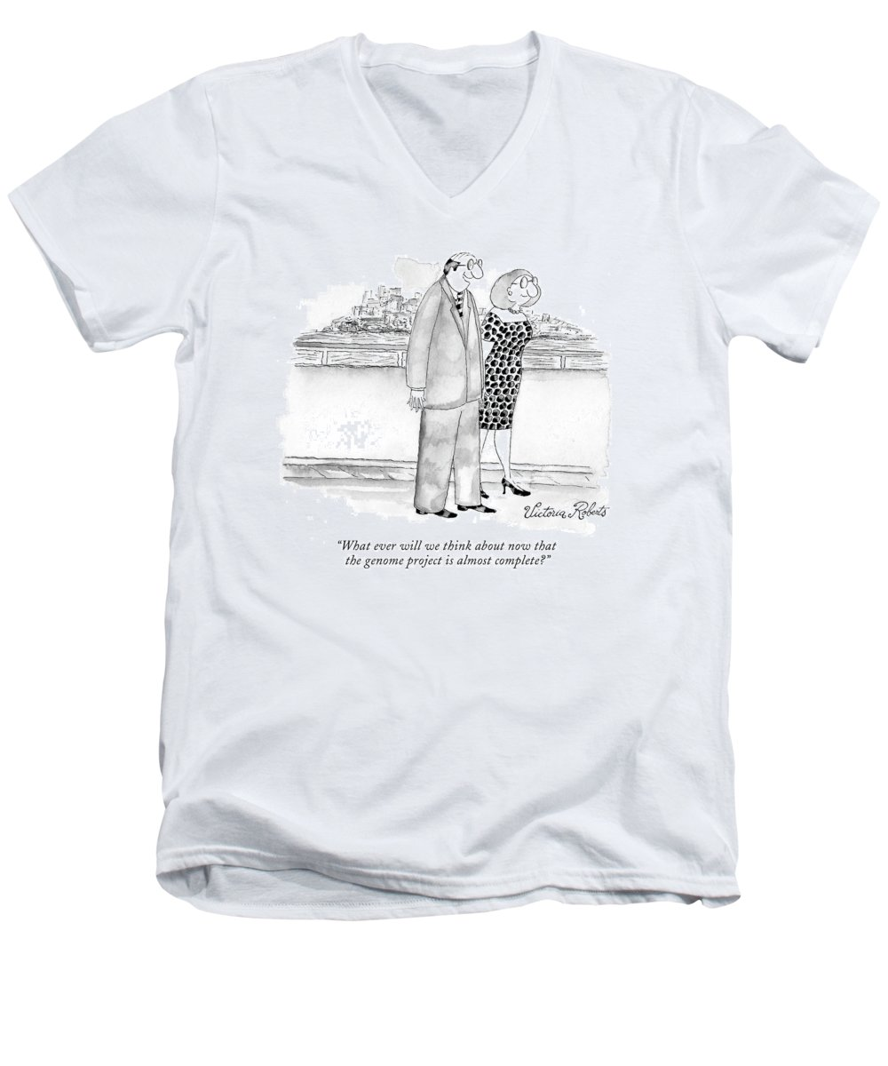Genes Men's V-Neck T-Shirt featuring the drawing What Ever Will We Think About Now That The Genome by Victoria Roberts