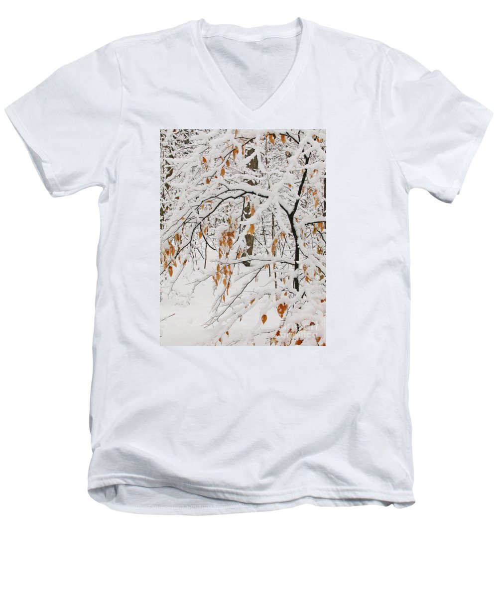 Winter Men's V-Neck T-Shirt featuring the photograph Winter Branches by Ann Horn