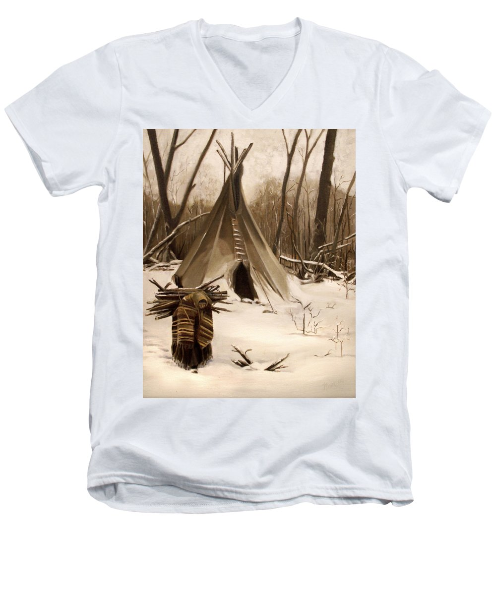 Native American Men's V-Neck T-Shirt featuring the painting Wood Gatherer by Nancy Griswold
