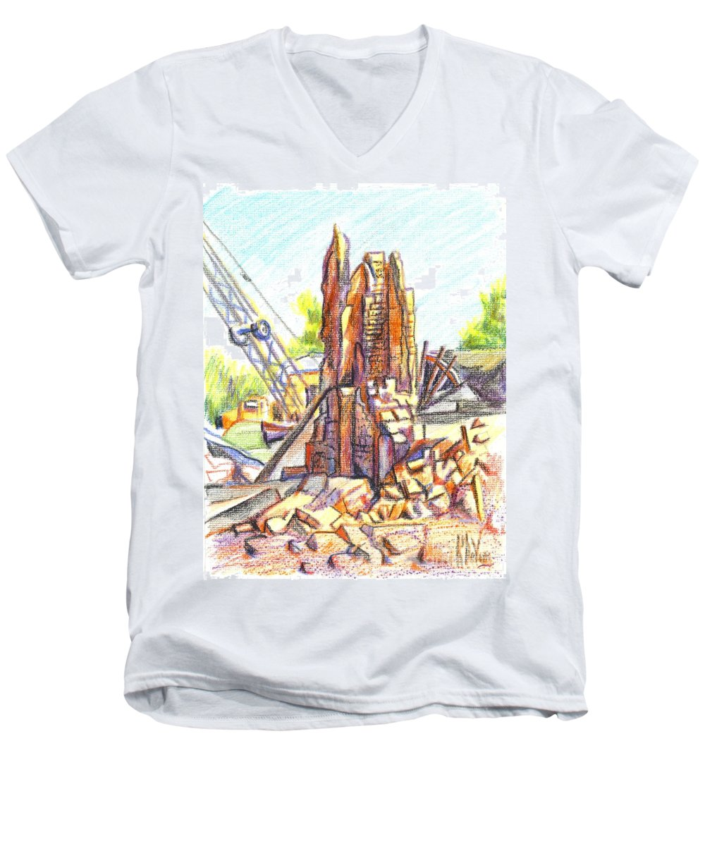 Wrecking Ball Men's V-Neck T-Shirt featuring the painting Wrecking Ball by Kip DeVore