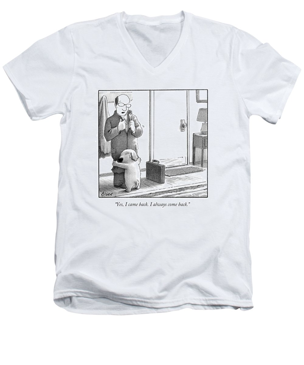 Yes Men's V-Neck T-Shirt featuring the drawing Yes I Came Back I Always Come Back by Harry Bliss