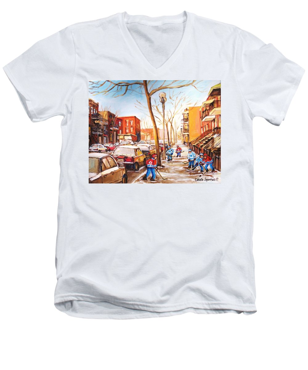Montreal Street Scene With Boys Playing Hockey Men's V-Neck T-Shirt featuring the painting Montreal Street With Six Boys Playing Hockey by Carole Spandau