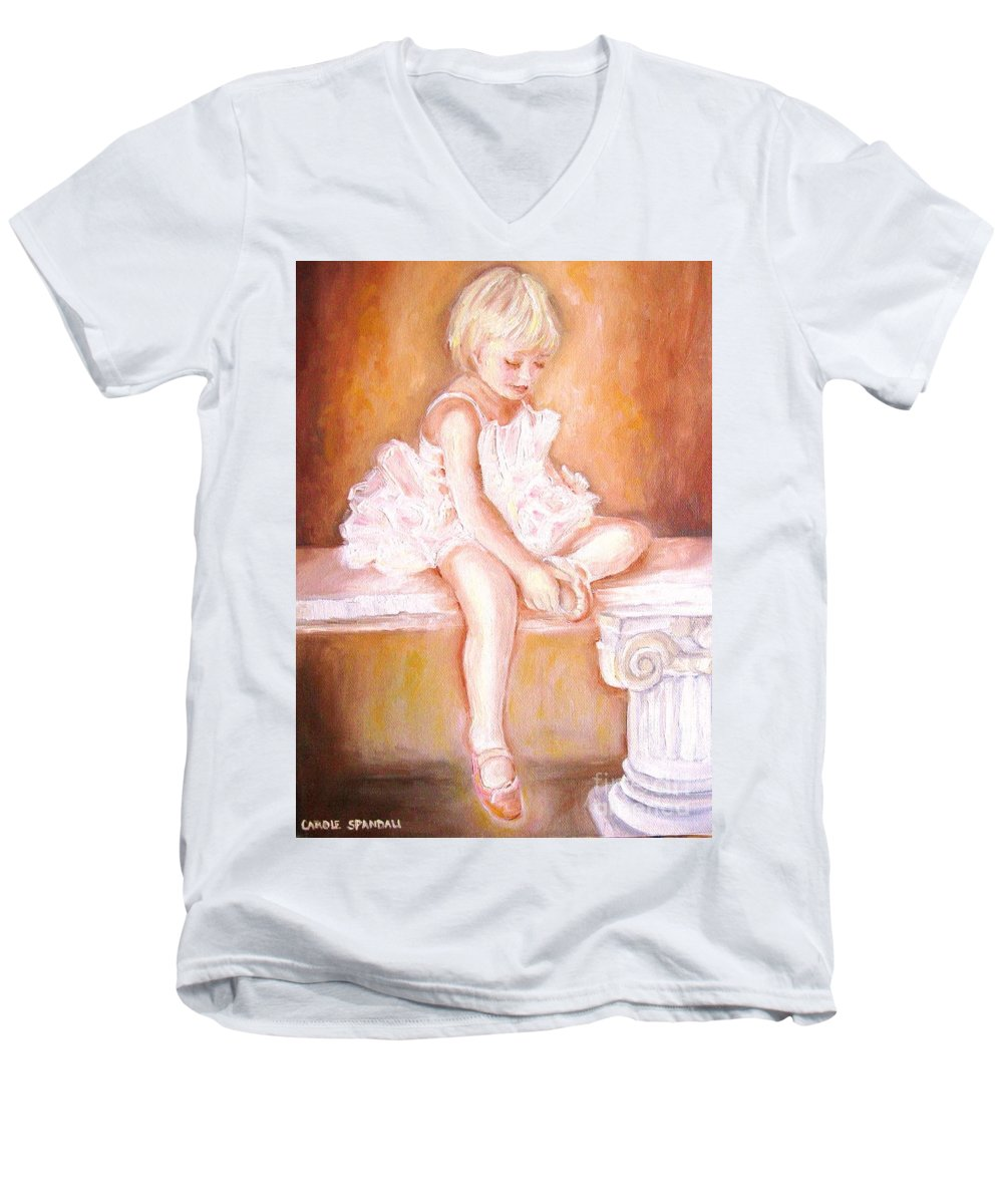 Ballerinas Men's V-Neck T-Shirt featuring the painting The Little Ballerina by Carole Spandau