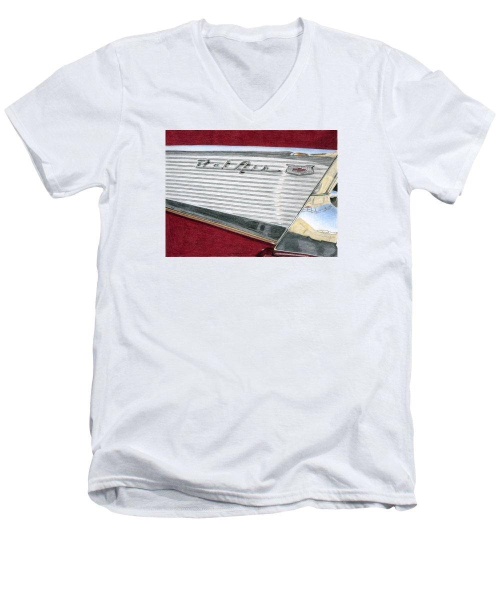 Classic Men's V-Neck T-Shirt featuring the drawing 1957 Chevrolet Bel Air Convertible by Rob De Vries