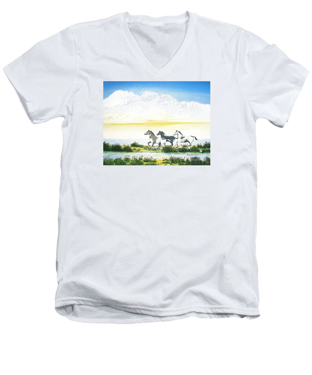 Chincoteague Men's V-Neck T-Shirt featuring the painting Indian Ponies by Jerome Stumphauzer