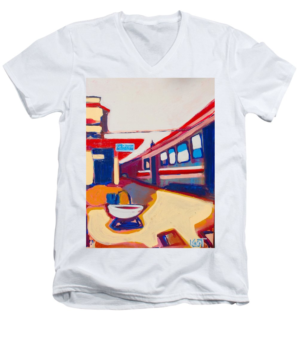Train Station Men's V-Neck T-Shirt featuring the painting Locale by Kurt Hausmann