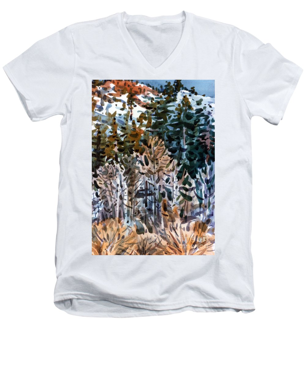 Walker River Men's V-Neck T-Shirt featuring the painting Along The Walker River by Donald Maier