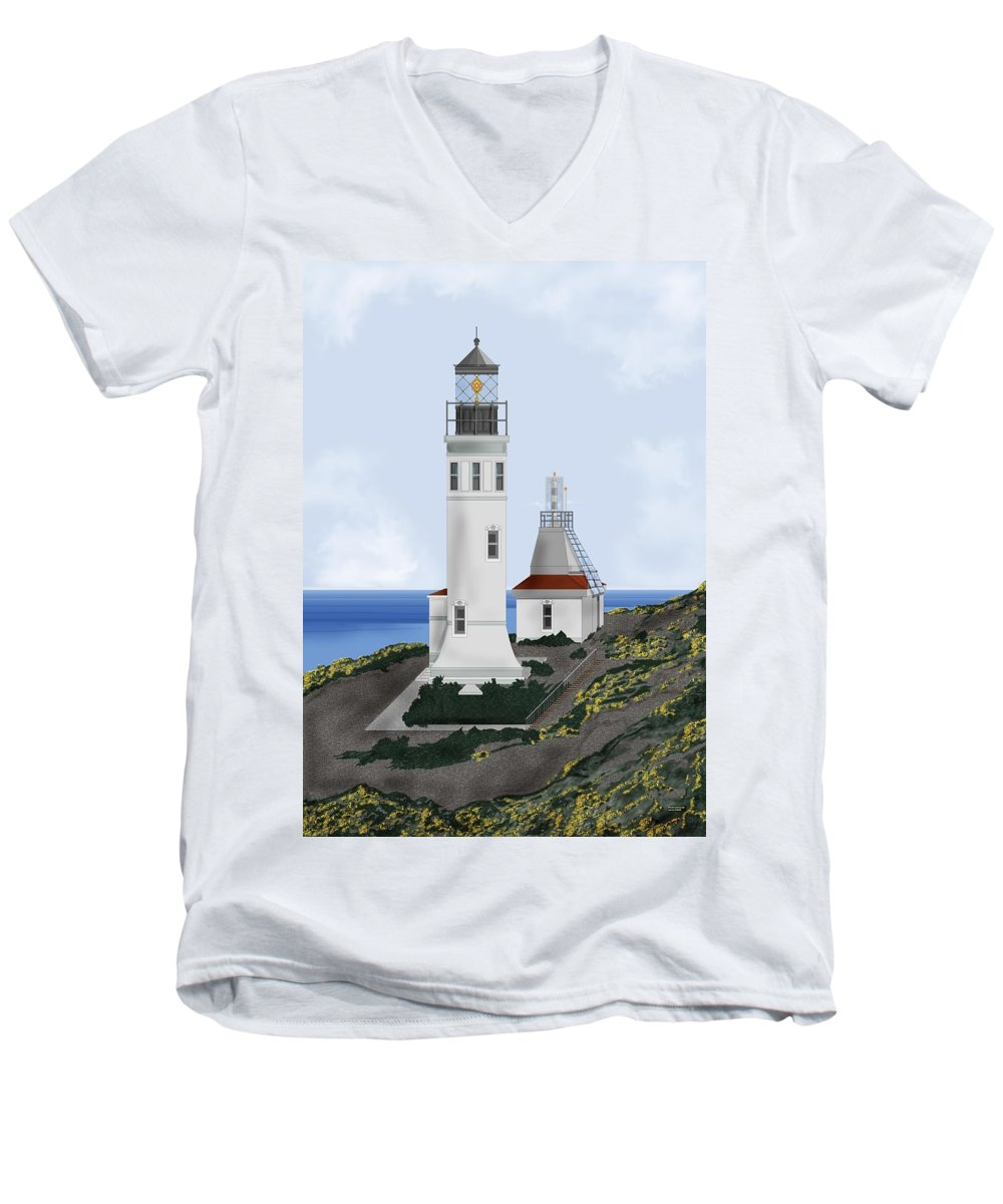 Lighthouse Men's V-Neck T-Shirt featuring the painting Anacapa Lighthouse California by Anne Norskog