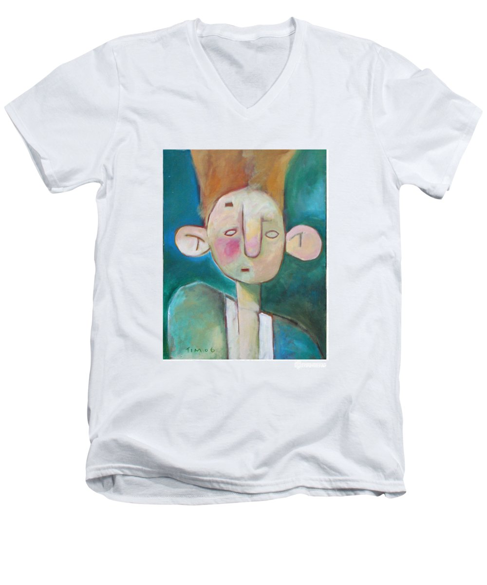 Funny Men's V-Neck T-Shirt featuring the painting Bad Hair Life by Tim Nyberg