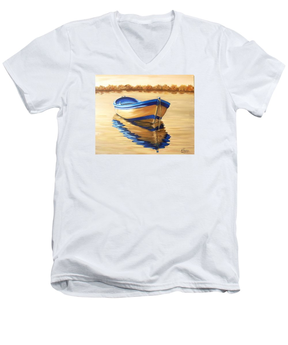 Still Life Men's V-Neck T-Shirt featuring the painting Lake by Natalia Tejera