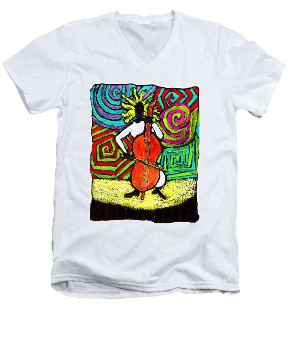 Music Men's V-Neck T-Shirt featuring the painting Cello Soloist by Wayne Potrafka