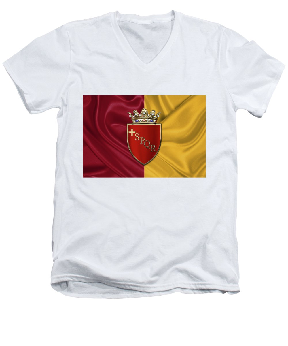 Rome Has The Status Of A Global City. Monuments And Museums Such As The Vatican Museums And The Colosseum Are Among The World's Most Visited Tourist Destinations With Both Locations Receiving Millions Of Tourists A Year. Rome Hosted The 1960 Summer Olympics And Is The Seat Of United Nations' Food And Agriculture Organization (fao). Men's V-Neck T-Shirt featuring the photograph Coat Of Arms Of Rome Over Flag Of Rome by Serge Averbukh