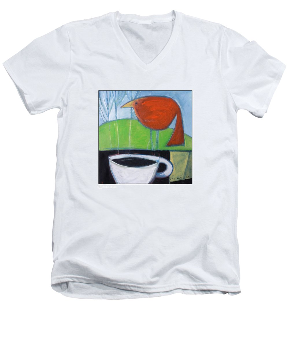 Bird Men's V-Neck T-Shirt featuring the painting Coffee With Red Bird by Tim Nyberg