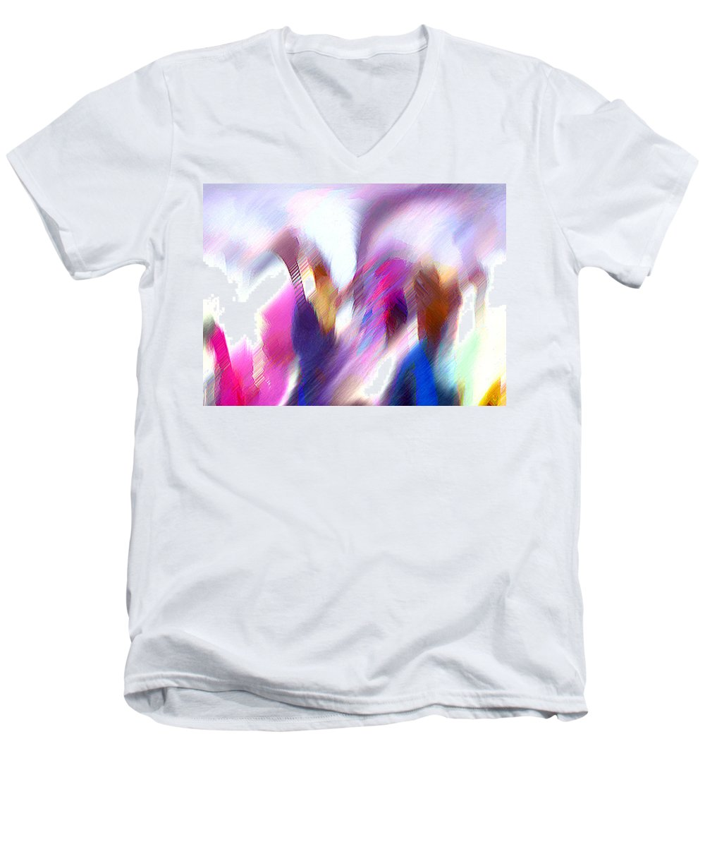 Digital Media Men's V-Neck T-Shirt featuring the painting Color Dance by Anil Nene