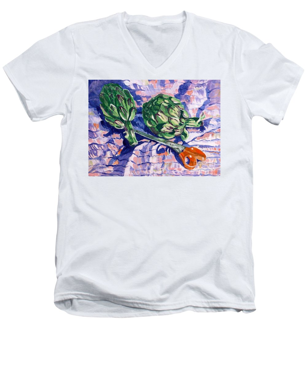 Greens Men's V-Neck T-Shirt featuring the painting Edible Flowers by Jan Bennicoff