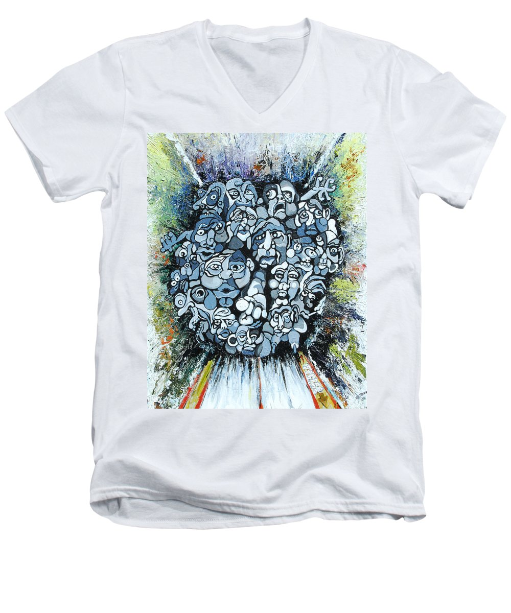 Surreal Men's V-Neck T-Shirt featuring the painting Elevator by Julie Fischer