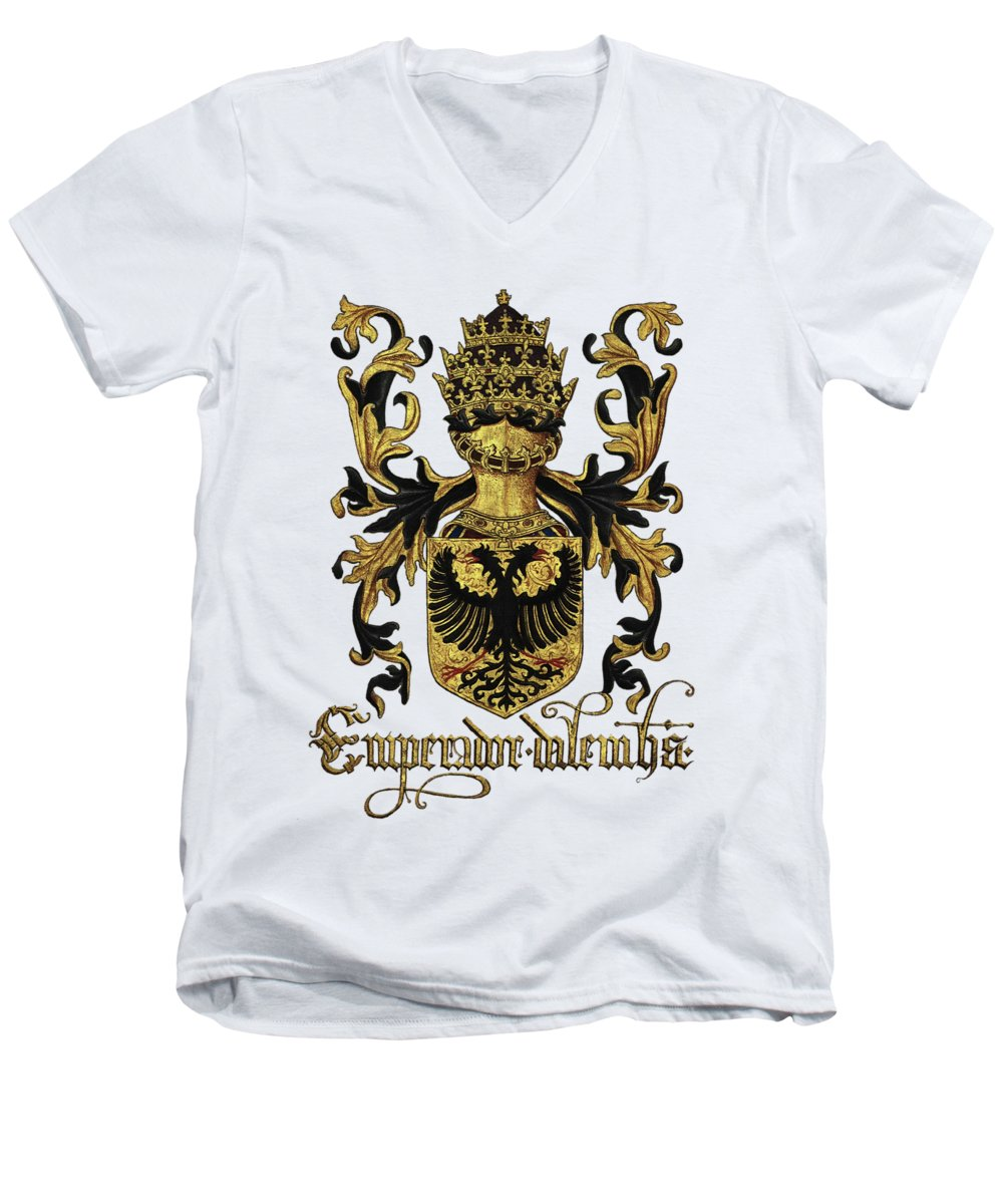 'roll Of Arms� Collection By Serge Averbukh Men's V-Neck T-Shirt featuring the photograph Emperor Of Germany Coat Of Arms - Livro Do Armeiro-mor by Serge Averbukh