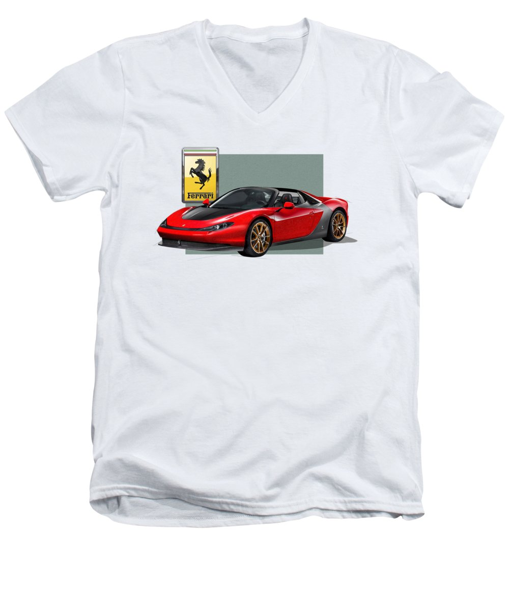 �ferrari� Collection By Serge Averbukh Men's V-Neck T-Shirt featuring the photograph Ferrari Sergio With 3d Badge by Serge Averbukh